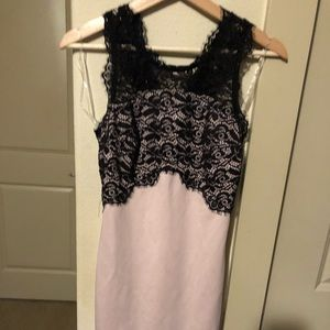 Blush Pink with Black Lace Body Con Dress!!